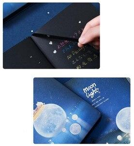 """Image 5 - """"Лунный свет"""" Жесткий Чехол черные бумаги записная книжка Журнал Дневник пустой блокнот канцелярские принадлежности подарок"""