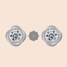 Fashion Simple Four-leaf Flower Shape Inlaid Zircon Stud Earrings S925 Silver Trend Stud Earrings Classic Jewelry Gift fashion leaf silver earrings basho shape earrings