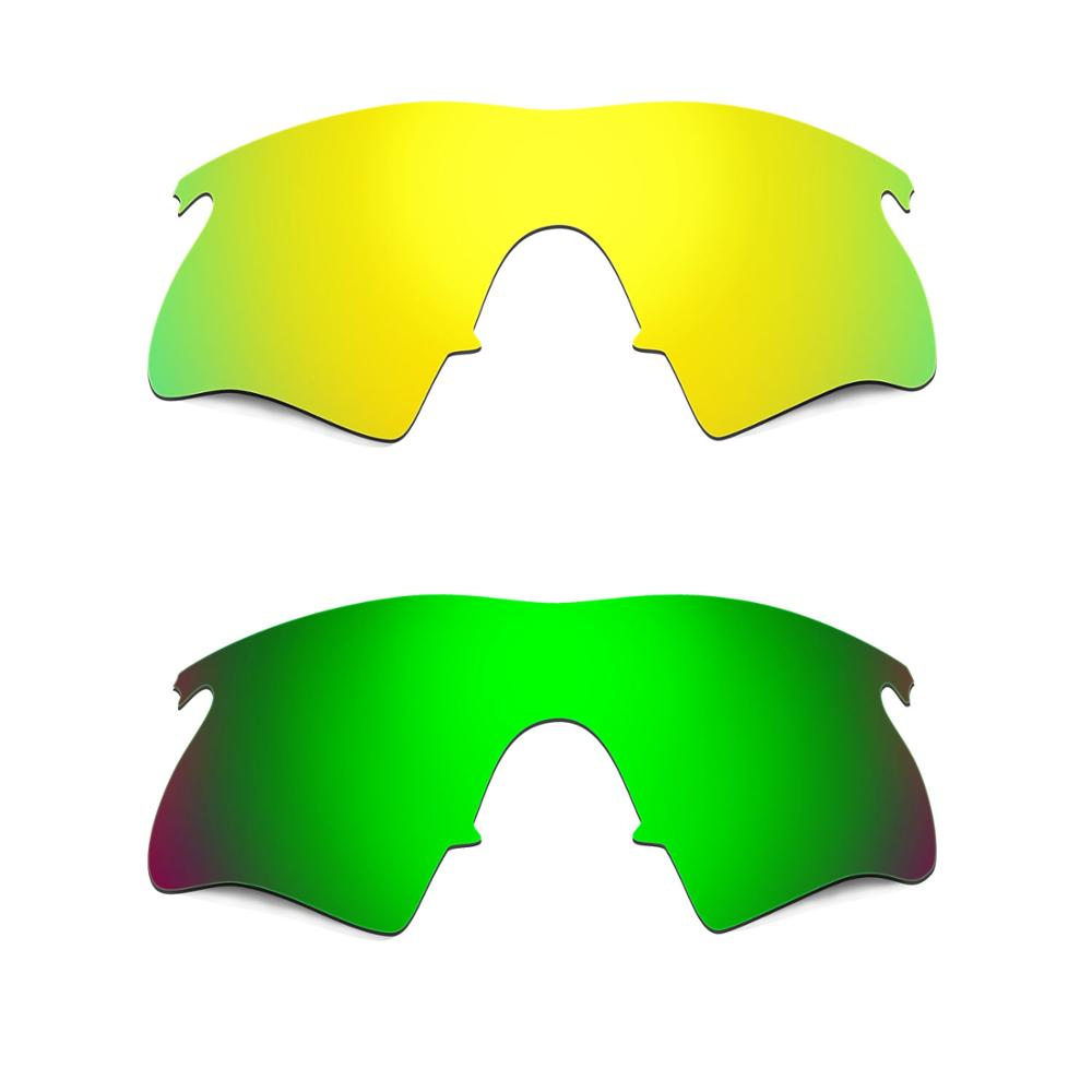 HKUCO For M-Frame Heater Sunglasses Replacement Polarized Lenses 2 Pairs - Gold & Green