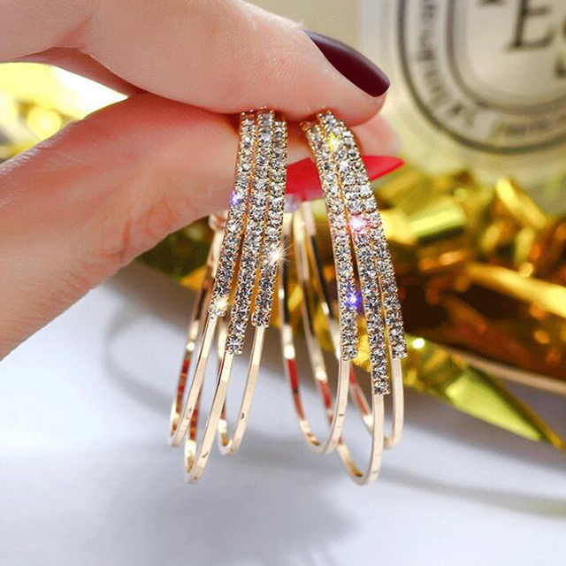 LATS Exaggerated Rhinestone Shiny Circle Hoop Earrings Large Round Earrings for Women 2020 Brincos Fashion Jewelry Accessories 2