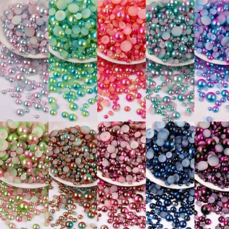 Lucia Crafts 3-8mm Mermaid Gradient Half Round Pearls ABS Imitation Pearl Flatback  Beads For DIY Nail Art Decor Access YF0206