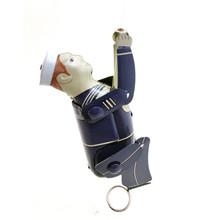 Vintage Retro Sailor blaszana zabawka klasyczny mechanizm zegarowy Wind Up do kresek sailor Collection blaszana zabawka dla dorosłych dzieci prezent kolekcjonerski tanie tanio Metal Rysunek Bezwładności Likwidacji do not damaged Universal Unisex 3 lat 1 Piece 5 5x4x18 CM 100 Brand New High Quality
