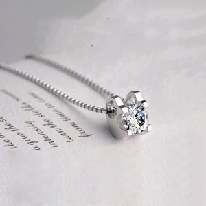 Image 4 - Женский кулон на помолвку BOEYCJR, элегантное ожерелье из серебра 925 пробы 0.5ct/1ct/2ct F, Подарок на годовщину