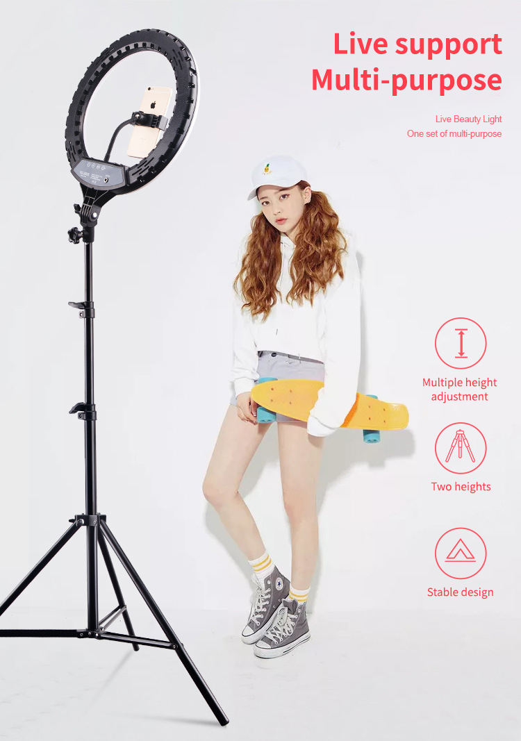 """Hb5ab96ad38a649c482a42158fccf6ec1M 14"""" LED Ring Light Photographic Selfie Ring Lighting with Stand for Smartphone Youtube Makeup Video Studio Tripod Ring Light"""