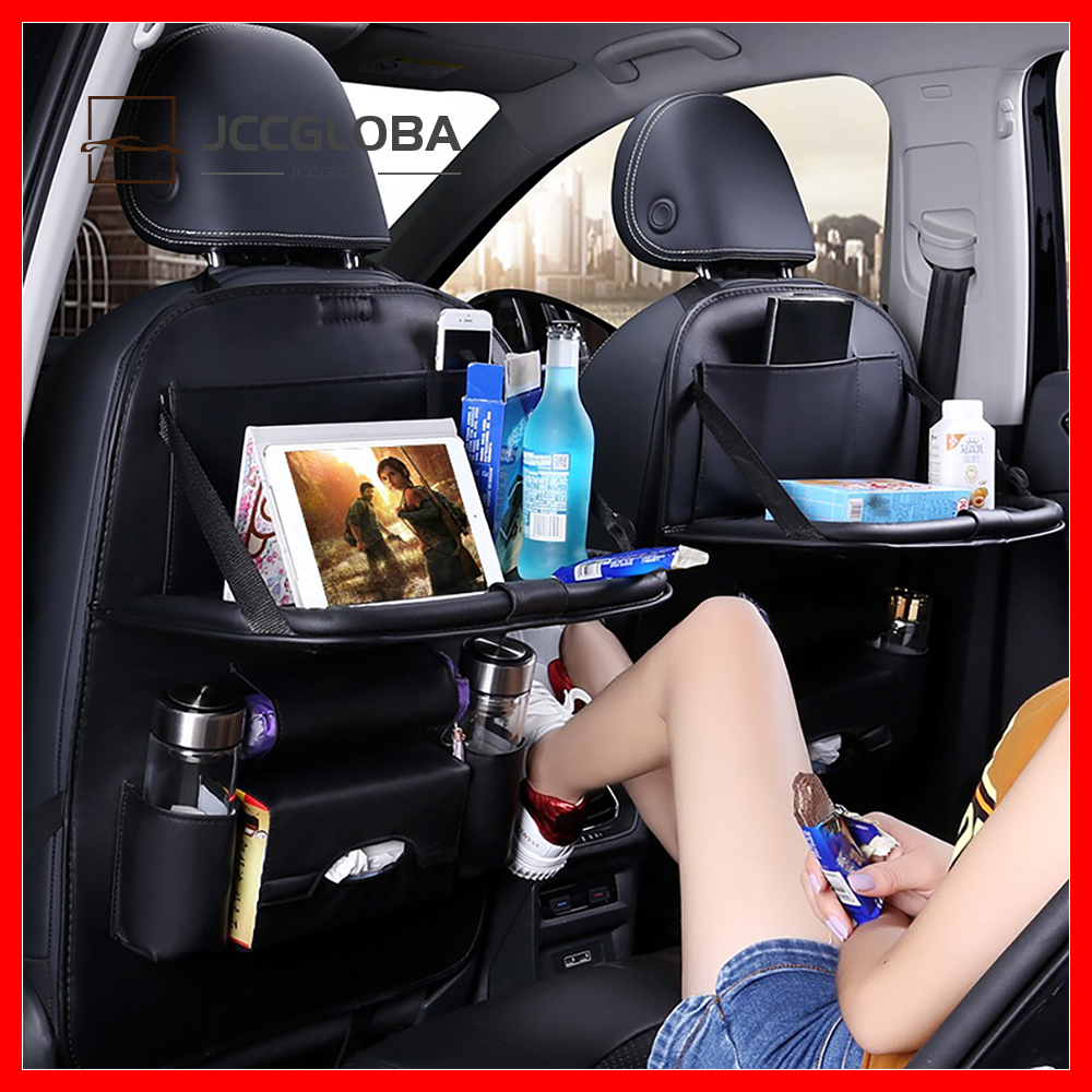 1PC PU Leather Car Seat Backrest Storage Multi-Pocket Storage Bag Travel Foldable Dining Table Tray Tablet Stand Auto Supplies