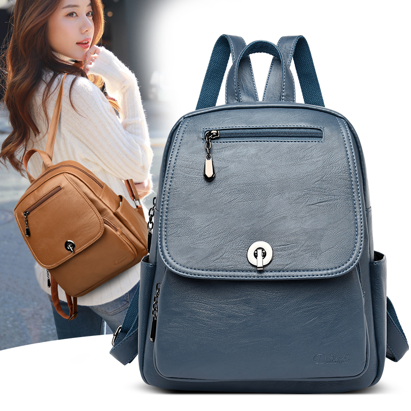 2020 Classic Blue Woman Backpack Brand Female Backbag High Quality Leather Schoolbag For Teenage Girl School Bag Lady Travel Bag