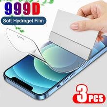 3 pçs capa completa filme de hidrogel no protetor de tela para iphone 7 8 6s plus protetor de tela no iphone x xr xs max 11 12 pro
