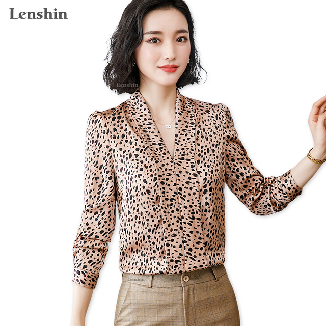 Lenshin Leopard Pattern Loose Shirt Breathable Soft V-neck Draped Blouse Women Female Wear Casual Style Office Lady Tops 1