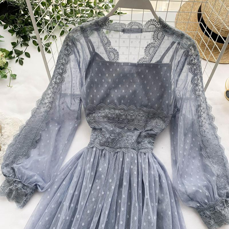Lace Floral V-Neck Long Sleeve Polka Dot Dress 14