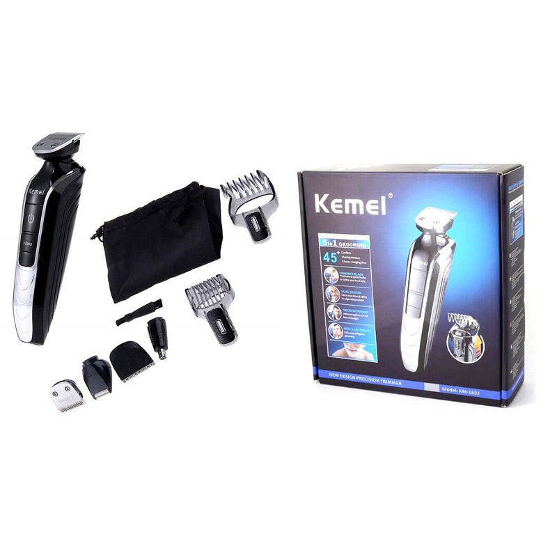 <font><b>KEMEI</b></font> KM-<font><b>1832</b></font> 5 In 1 Professional Rechargeable Hair Trimmer Clipper Electric Shaver Razor Adjustable Beard Cutting Machine image