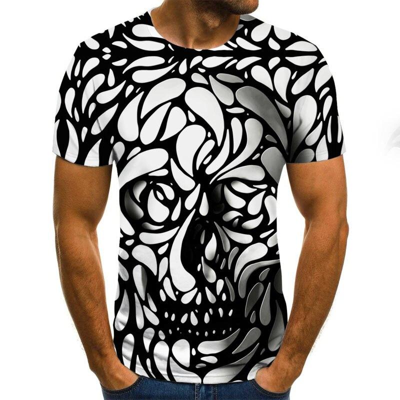 Fashion T-SHIRT personality creative geometric print Tshirt skull pattern 3D T Shirt summer short-sleeved Tee men trend slim Top