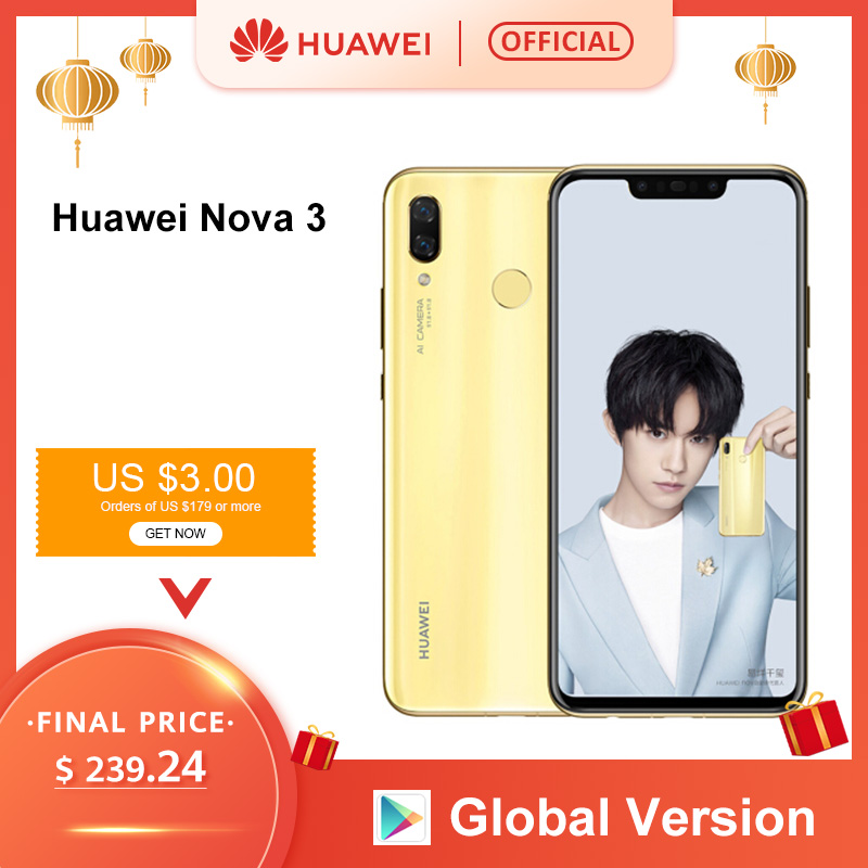 Global Version Huawei Nova 3 6GB 128GB Smartphone 24MP Dual Cameras 24MP Front Camera 6.3'' Full Screen Kirin 970 Android 8.1
