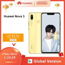 Versión Global Huawei Nova 3 6GB 128GB Smartphone 24MP cámaras duales 24MP cámara frontal 6,3 ''Pantalla Completa Kirin 970 Android 8,1(China)