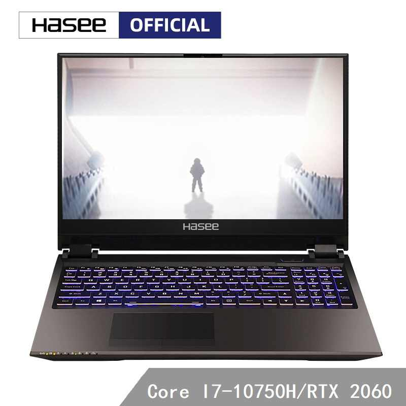 HASEE Z8-CU7PK Laptop untuk Gaming(I7-10750H + RTX 2060/16GB RAM/256G SSD + 1T HDD/15.6 Inci 1920*1080 72% 144 HZ IPS