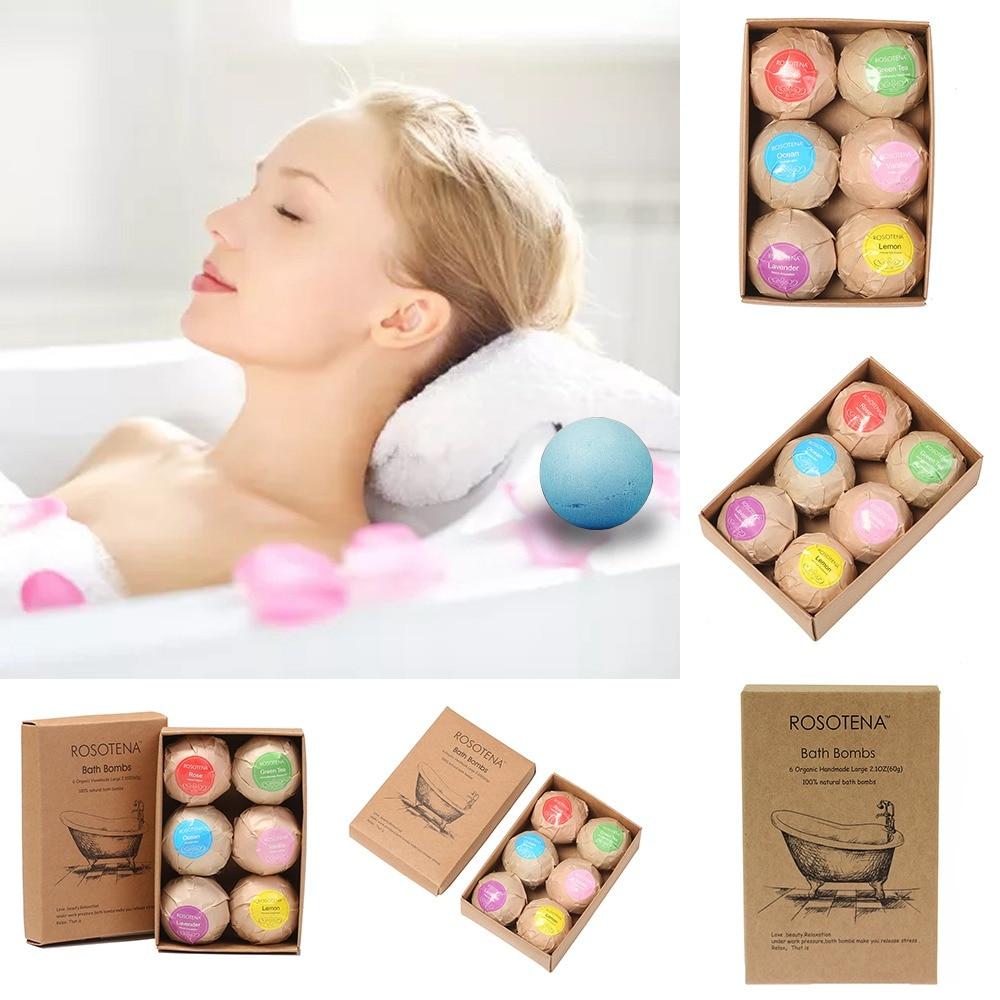 6pcs Bath Bomb Ball Deep Sea Bath Salt Body Bath Ball Cleaner Exfoliating Aromatic Natural Bubble Bath Bombs Ball 6 Flavors