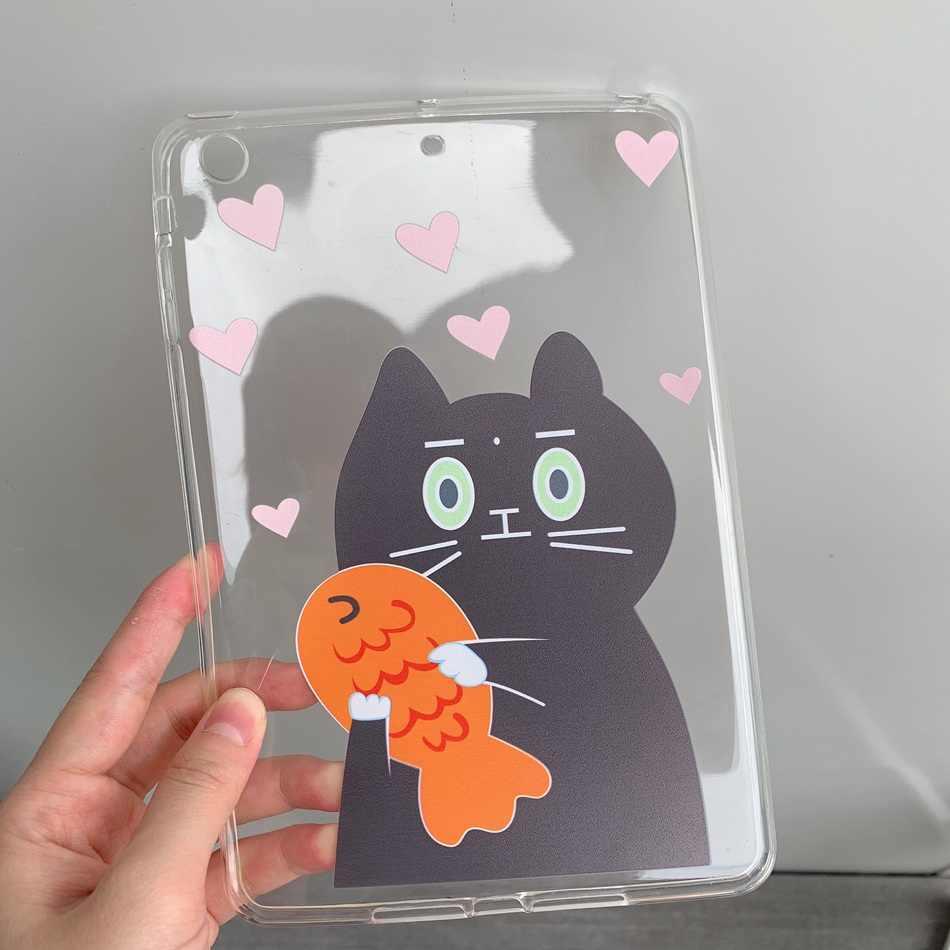 "Axbety لباد 2/3/4 حالة لطيف الكرتون الأسماك اصطياد القط غطاء ل iPad2 iPad3 iPad4 9.7 ""لينة سيليكون واضح المجهزة كيس كوكه"