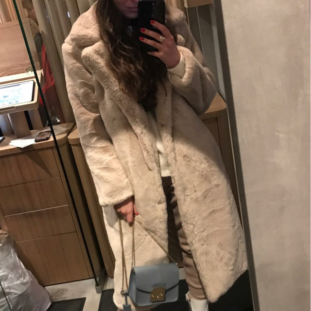 Winter Women High Quality Faux Rabbit Fur Coat Luxury Long Fur Coat Loose Lapel OverCoat Thick Warm Plus Size Female Plush Coats 4