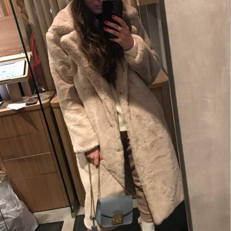 الشتاء النساء معطف فرو الأرنب الصناعي امرأة طويلة الفراء سترة فاخرة فضفاضة التلبيب سميكة الدافئة حجم كبير معطف الإناث أفخم