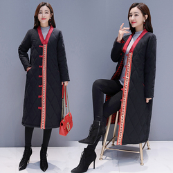 Winter clothes national windmill button cotton and hemp stitching cotton jacket  medium and long-term jacket Long coat