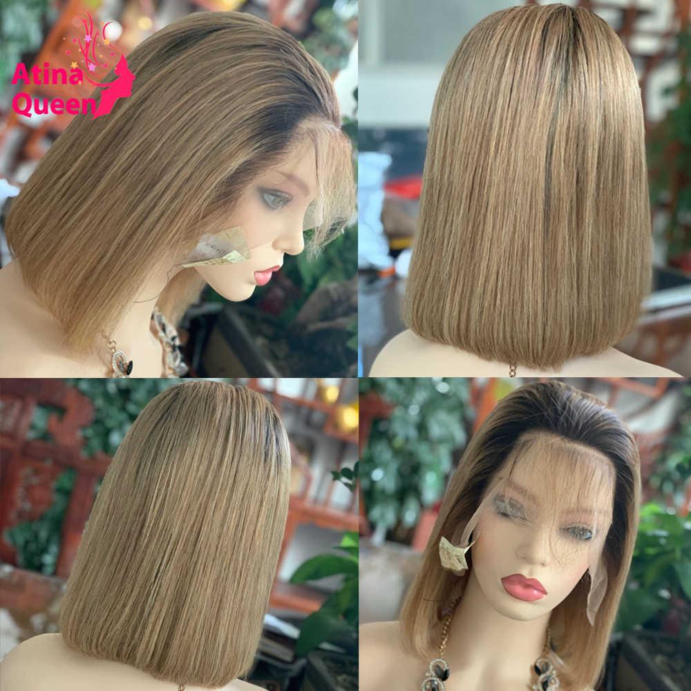 Ombre Menselijk Haar Korte Bob Pruik Bruin Honing Blonde Gekleurde 13X6 Lace Front Pruiken Remy 4X4 vetersluiting Pruik Preplucked 150 Dichtheid
