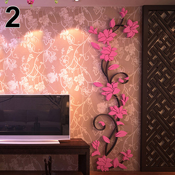 New Fashion Home Living Room Decorations Wall Stickers 3D Flower Removable DIY Wall Sticker Decal Mural bedroom decor 8