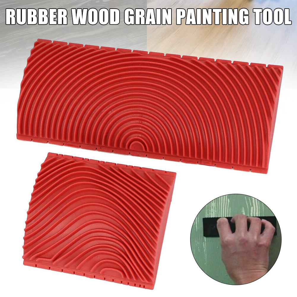 Household Wall Art Paint Rubber Wood Graining DIY Tool Set Red 2 In 1 Wood Graining Tool