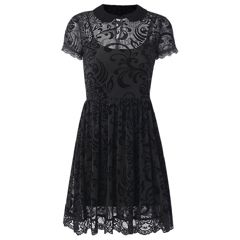 InsGoth Vintage Lace Dress Women Gothic Party Sexy Hollow Out Black Mini Short Sleeve Dress Harajuku Casual Female Mesh Dress 5