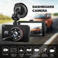 Car DVR Camesh Cam 3'' 4K 1080P Full HD Dash Camera 150 Degree Dash Cam Voiture Cars Night Vision G Sensor Car Camera Recorder