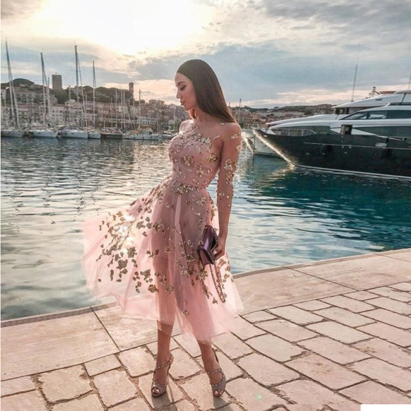 Long Sleeves Pink   Cocktail     Dresses   Formal Party Gowns Knee Length Woman Short Fashion Gold Sequins   Dress