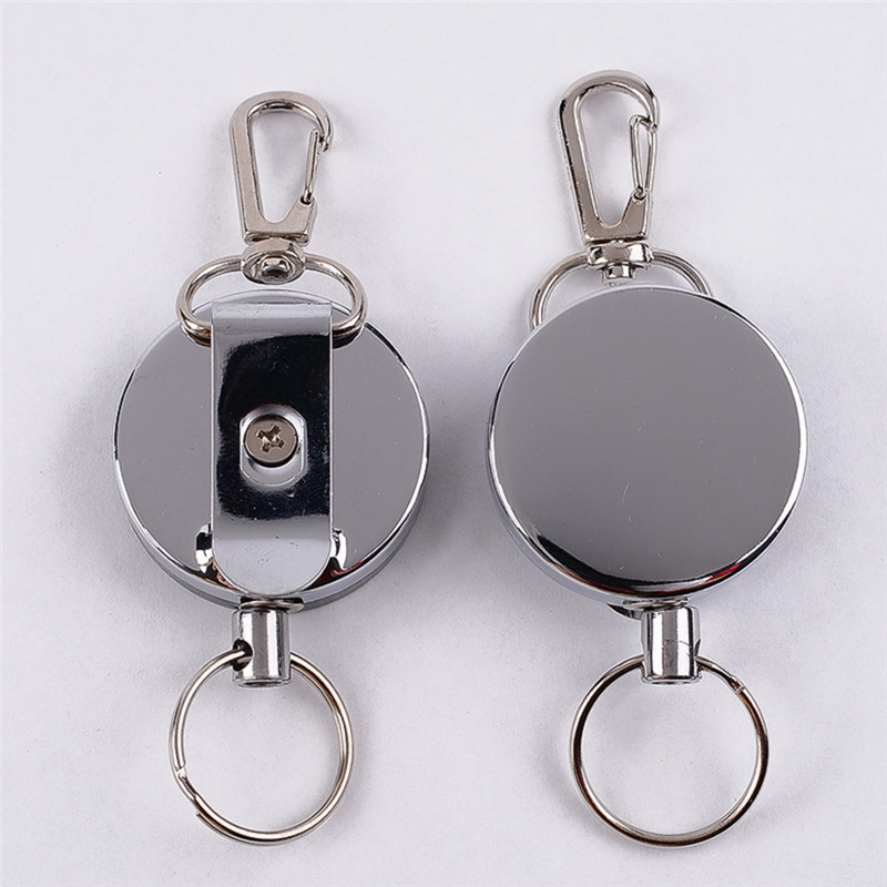 Anti Lost Resilience Steel Wire Elastic Key Chain Recoil Sporty Alarm Silver Key Rings Stainless Steel Climbing Accessories