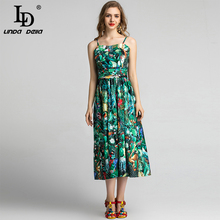LD LINDA DELLA 2020 Fashion Runway Summer Dress Women's Spaghetti Strap Belted Green Flower Floral Print Holiday Party Dresses ld linda della runway maxi dress women s flare sleeve belt casual bohemian party holiday lemon floral print long dress