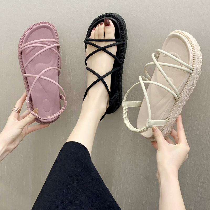 2020 Summer New Korean Version Of The Wild Students Thick Sponge Cake Cuffed Cross Straps Flat Pink Sandals  Women