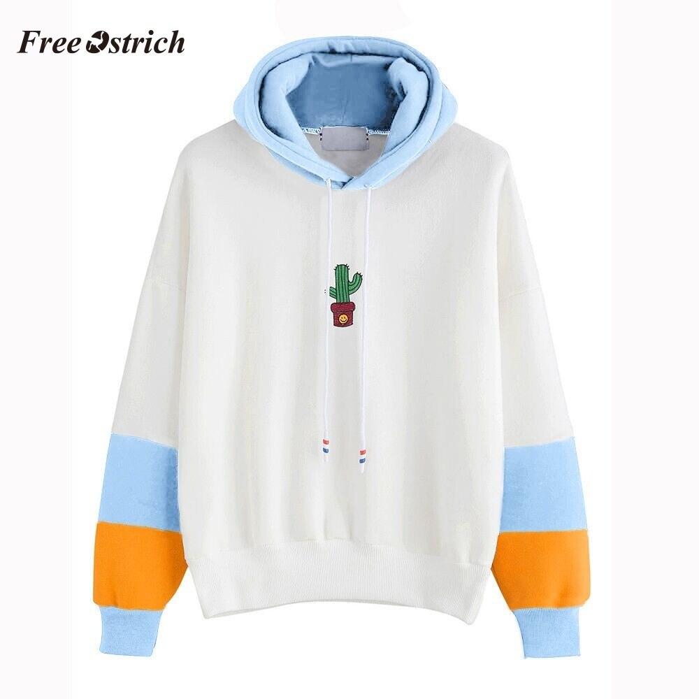 Free Ostrich Womens Long Sleeve Cactus Print Hoodie Sweatshirt Hooded Pullover Tops Blouse Fashion Simple Sweatshirt Winter #O.2