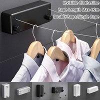 Einfache/Doppel Linie Versenkbare Wäscheleine Hause Edelstahl Stahl String Hängen Kleiderbügel Rack Tragbare Wäscheleine|Wäscheleine|Heim und Garten -