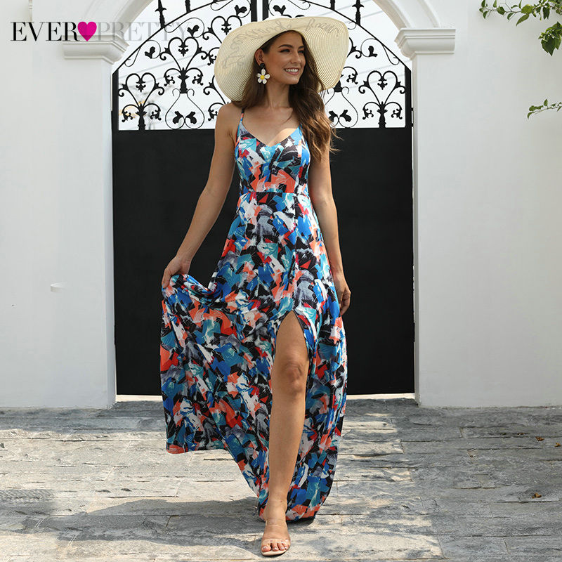 Simple Floral Printed Prom Dresses Ever Pretty AS08906 A-Line Spaghetti Straps Backless Sexy Beach Style Party Gowns Vestidos