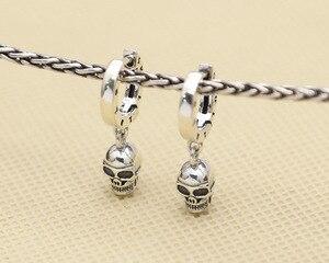Image 5 - NEW! Vintage 925 Silver Skeleton Earrings Thai Silver Skull Earrings Real Silver Unisex Punk Earrings Jewelry Gift