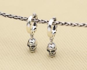 Image 5 - ¡Nuevo! Pendientes de plata de ley 925 con esqueleto Estilo Vintage, pendientes de cráneo plata tailandés, de estilo Punk, Unisex