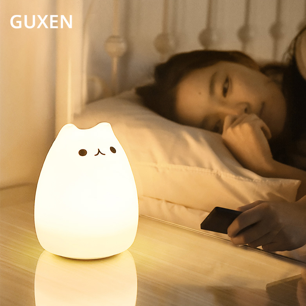 7 Colourful Holiday Creative LED Night Lamp Decorate Desk Light Battery Dream Cute Cat Sleepping Bulb For Baby Bedroom Luminar