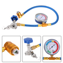 practical r134a to r12 r22 refrigerant recharge hose pipe R134A R12 Hose Plastic Metal Air Conditioning Refrigerant Recharge Measuring Kit