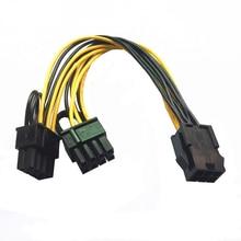 10pcs/lot PCI E 6 pin to Dual 6+2 pin (6 pin/8 pin) Power Splitter Cable Graphics Card PCIE PCI Express 6Pin to Dual 8Pin Power