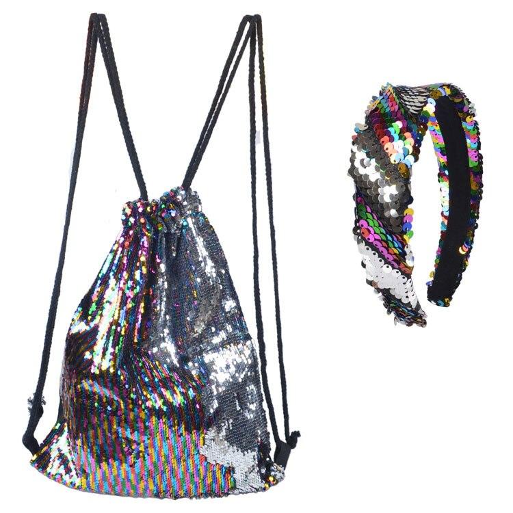 Sequins Flamingo Pattern Storage Bag Women Men Drawstring Travel Beach Backpack Bag Toys Shoes Clothes Organizer FL03