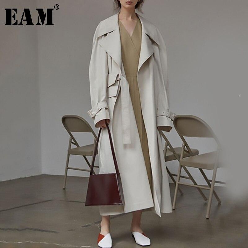 [EAM] Women Long Bandage Big Size Trench New Lapel Long Sleeve Loose Fit Windbreaker Fashion Tide Autumn Winter 2019 1B888