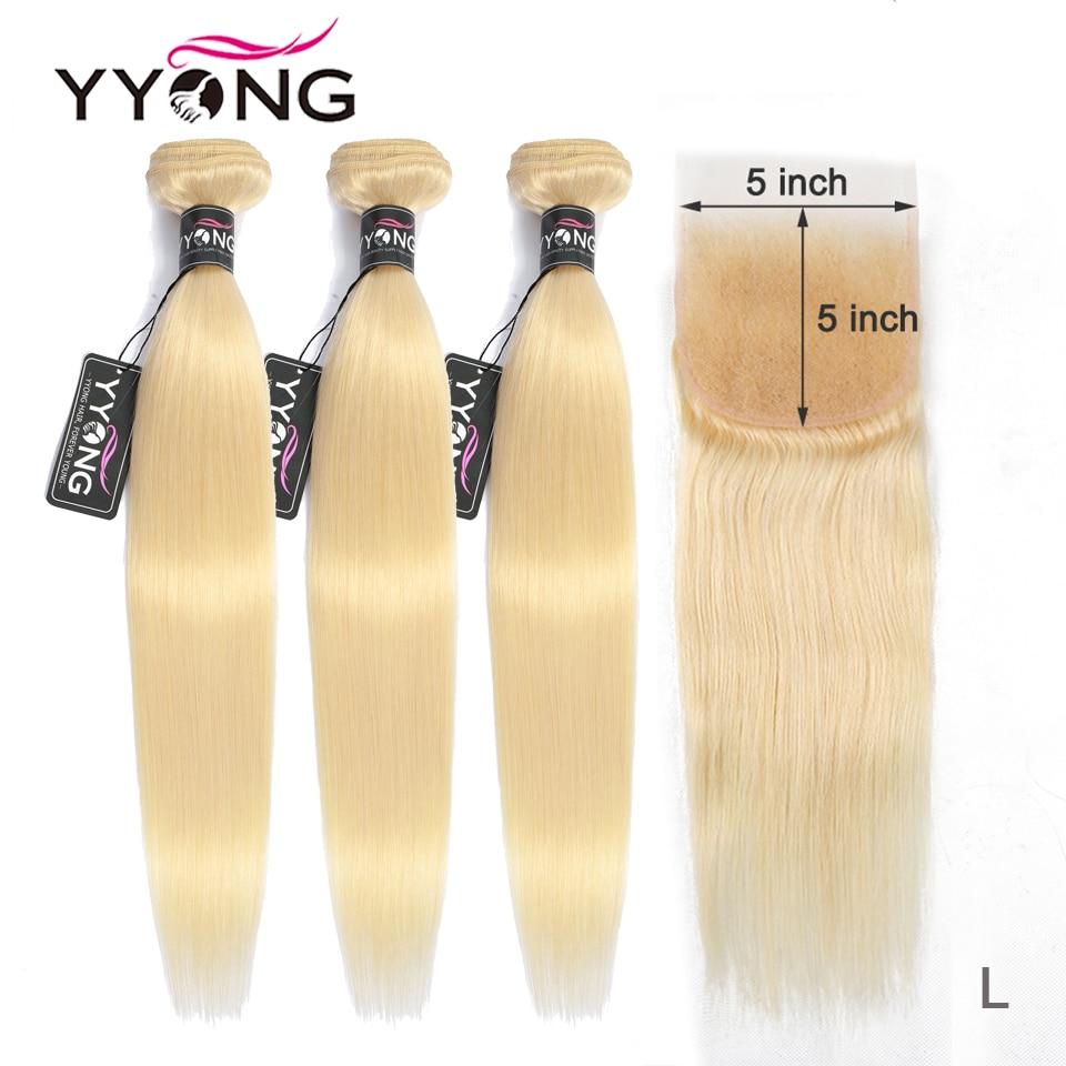 YYong  613 Blond Bundles With 5*5 Lace  Closure 10-26 Inch Bundles 613 Honey Blonde Remy Brazilian Straight Closure With Bundles