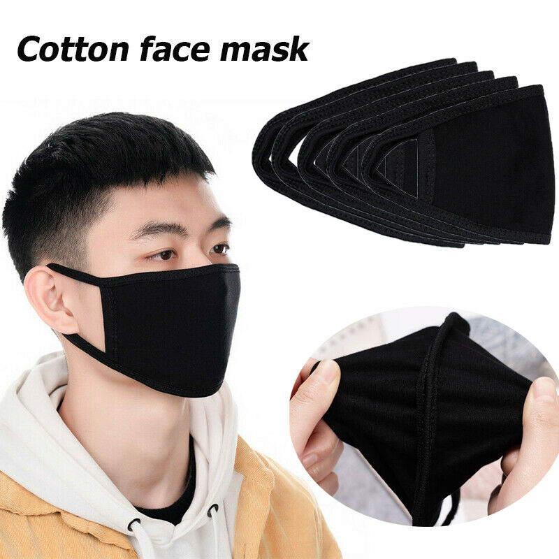 5Pcs Black KPOP Cute Anime Cotton Face Mask Reusable Warm Winter Windproof Washable Mouth Masks K-pop Facial Masks Mondkapjes