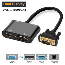 VGA to HDMI compatible VGA Splitter with 3.5mm Audio Converter Support Dual Display for PC Projector HDTV Multi port VGA Adapter