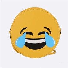 купить Women Mini Cute Emoji Bag PU Leather Phone Bags Cartoon Small Round Satchel Shoulder Package Girls Emoticon Crossbody Handbags по цене 226.95 рублей
