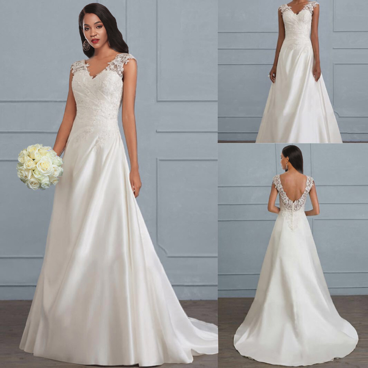 Nv Qun Zhuang Women's Solid Color Lace Joint Camisole Hollow Out Backless Dress Toast Wedding Dress Long Skirts