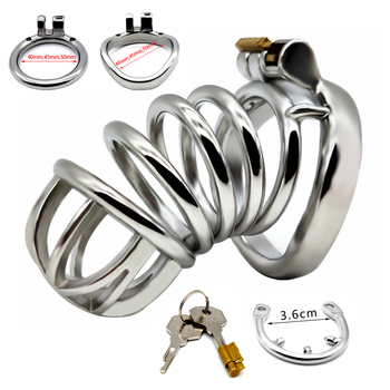 FRRK Male Chastity Device Stainless Steel Penis Cage With Stealth Lock Cock Ring Belt Sex Toys for Men