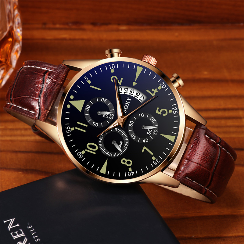 Watch Men Fashion Design Leather Band Analog Alloy Quartz Wrist Watches Male Clock Simple Rose Gold Dial Relogio Masculino D7