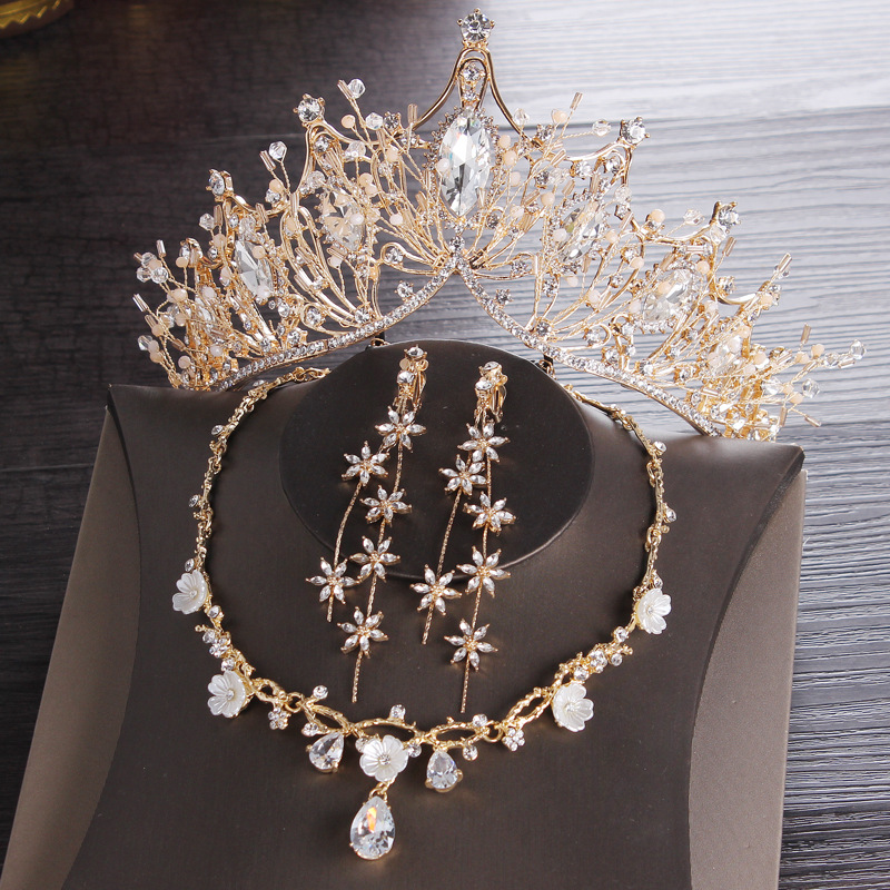 Crockoonboon Gold Bridal Crowns Tiaras Hair Headpiece Necklace Earrings Set Accessories Wedding Jewelry Set Bling Bling